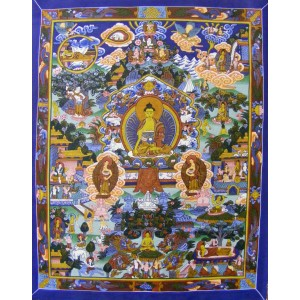 Genuine Original Tibetan Buddhist Thangka Painting - Life of the Buddha - Fair Trade