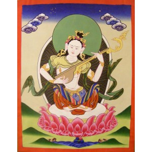 Genuine Original Tibetan Buddhist Thangka Painting -  Saraswati , Goddess of Knowledge and Wisdom  - Fair Trade