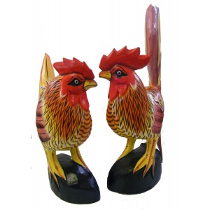 Hand carved, hand painted Wooden Hen & Cockeril - Fair Trade