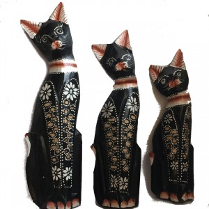 Fair Trade Family of Hand Carved Wooden Balinese Cats -  3 different size Cats