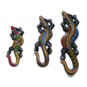 Set of 3 Colourful Hand Painted Wooden Balinese Geckos - Fair Trade