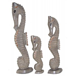Shabby Chic Hand Carved Natural Wooden Seahorses - Set of 3 sizes - Fair Trade