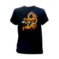 Fair Trade Embroidered Golden Chinese Dragon T Shirt ( Black T Shirt)