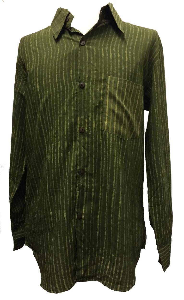 Dark Green Striped Blockprint Cotton
